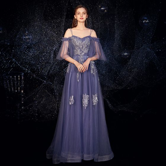Elegant Ocean Blue Evening Dresses  2019 A-Line / Princess Spaghetti Straps Bell sleeves Appliques Lace Beading Floor-Length / Long Backless Ruffle Formal Dresses