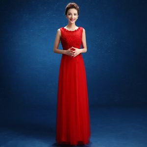 Chic / Beautiful Red Evening Dresses  2017 Empire Appliques Beading Scoop Neck Zipper Up Backless Sleeveless Ankle Length Evening Party