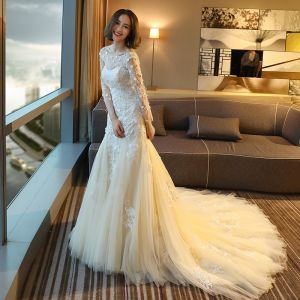 Elegant Chic / Beautiful Hall Wedding Dresses 2017 Lace Flower Backless Rhinestone Pearl Scoop Neck Long Sleeve Chapel Train White Sheath / Fit
