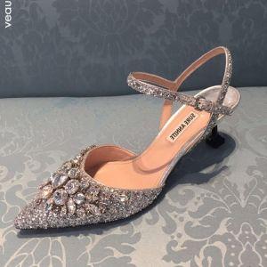 Glitzernden Silber Brautschuhe 2020 Knöchelriemen Strass Pailletten 5 cm Stilettos Spitzschuh Low Heel Hochzeit High Heels