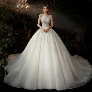 Piękne Szampan ślubna Suknie Ślubne 2020 Suknia Balowa Przy Ramieniu Kótkie Rękawy Bez Pleców Aplikacje Cekiny Trenem Katedra Wzburzyć