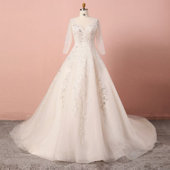 Luxury / Gorgeous Champagne Plus Size Wedding Dresses 2020 A-Line / Princess V-Neck Beading Sequins Handmade  Tulle Long Sleeve Cathedral Train Wedding