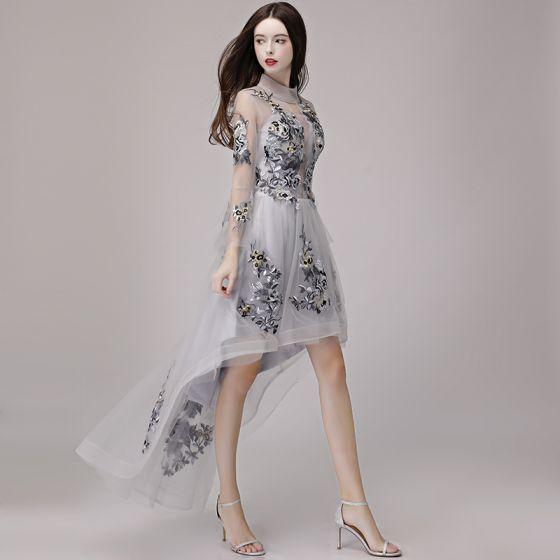 Wysoka Niska  Szary Przezroczyste Lato Sukienki Koktajlowe 2018 Princessa Wysokiej Szyi Długie Rękawy Aplikacje Z Koronki Asymetryczny Wzburzyć Sukienki Wizytowe