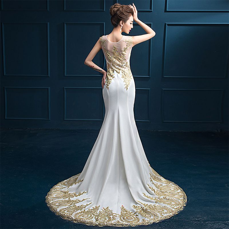 Trumpet / Mermaid 2017 Evening Dresses  White Black Ankle Strap Court Train Lace Scoop Neck Casual Church Cocktail Party Evening Party Prom Summer Sleeveless Formal Dresses