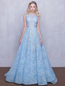 Belles Robes De Soirée 2016 Encolure Dégagée Applique Ciel Dentelle Tulle Bleu Robe Longue
