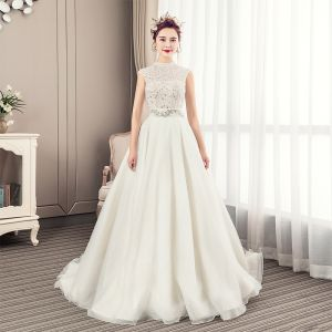 Luxury / Gorgeous Ivory Wedding Dresses 2019 A-Line / Princess High Neck Beading Crystal Lace Flower Pearl Sleeveless Backless Court Train