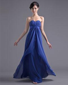 Mode Chiffon Plisse Lieverd Vloerlengte Bruidsmeisjes Jurken