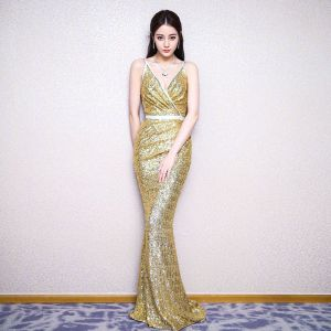 Sparkly Gold Sequins Evening Dresses  2018 Trumpet / Mermaid Spaghetti Straps Sleeveless Rhinestone Sash Floor-Length / Long Backless Formal Dresses