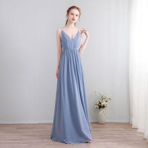 Simple Bleu Ciel Longue Robe De Soirée 2018 Princesse Chiffon V-Cou Lacer Boutons Dos Nu Soirée Robe De Ceremonie