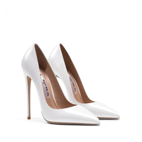 Chic / Beautiful Ivory Office OL Pumps 2020 Patent Leather 12 cm Stiletto Heels Pointed Toe Pumps