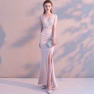 Sexy Pearl Pink Evening Dresses  2018 Trumpet / Mermaid Beading Rhinestone Split Front V-Neck Backless Sleeveless Floor-Length / Long Formal Dresses