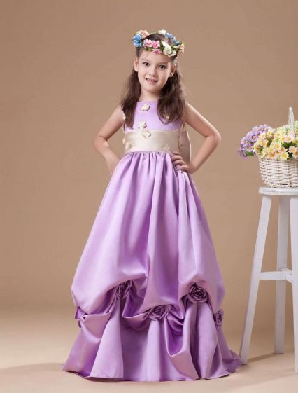 Lilac A-line Square Taffeta Floor Length Flower Girl Dress