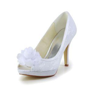 Piękne Białe Buty Ślubne Szpilki Peep Toe Koronki Z Kwiatem