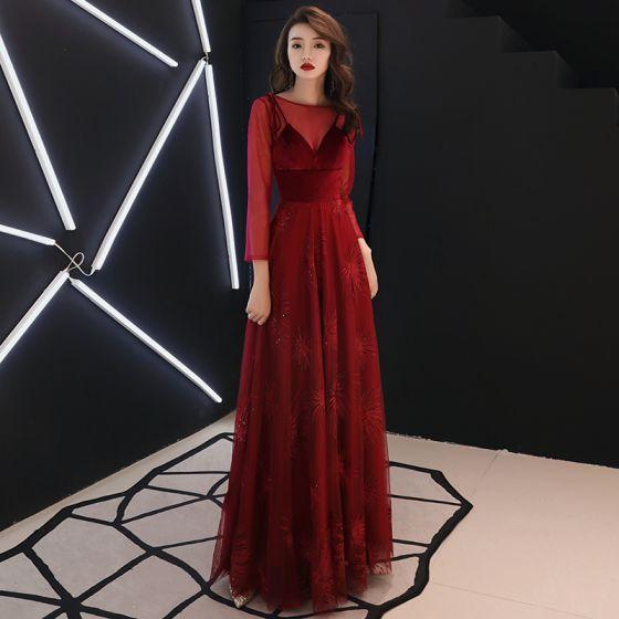 fc29e189c Elegantes Borgoña Vestidos de noche 2019 A-Line   Princess Scoop Escote  Suede Bowknot Lentejuelas Manga Larga Sin Espalda Largos Vestidos Formales