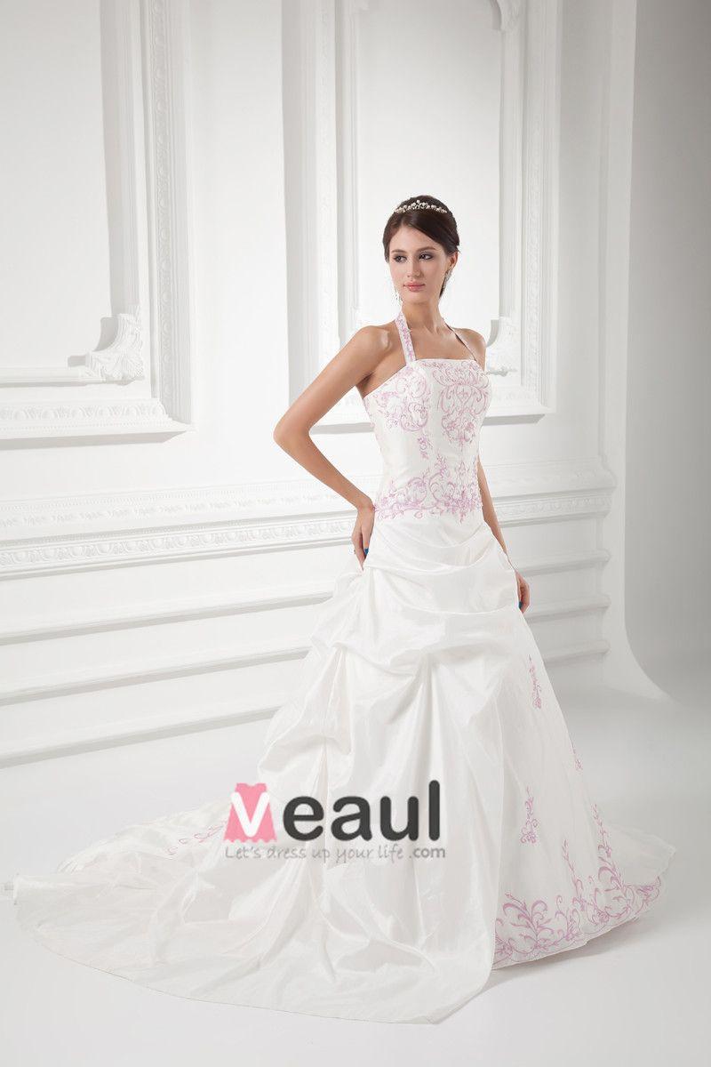 Taffeta Embroidered Halter Court Train Ball Gown Wedding Dress