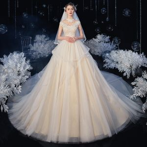 Vintage / Retro Champagne Bridal Wedding Dresses 2020 Ball Gown See-through High Neck Sleeveless Backless Appliques Lace Chapel Train Ruffle