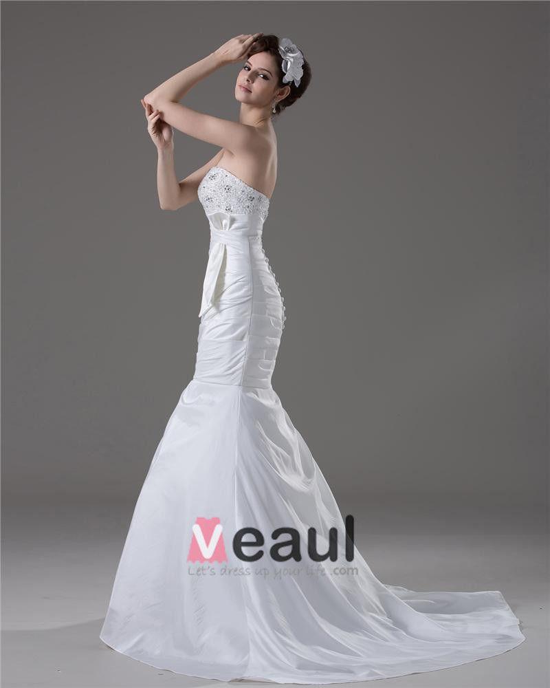 Elegant Beading Ruffles Strapless Floor Length Court Train Taffeta Mermaid Wedding Dress