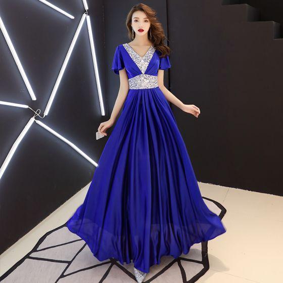 Abordable Bleu Roi Robe De Soirée 2019 Princesse V-Cou Manches Courtes Faux Diamant Longue Volants Dos Nu Robe De Ceremonie