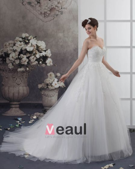 Tüll Falten Applique Schatz Gericht Bridal Ballkleid Brautkleid
