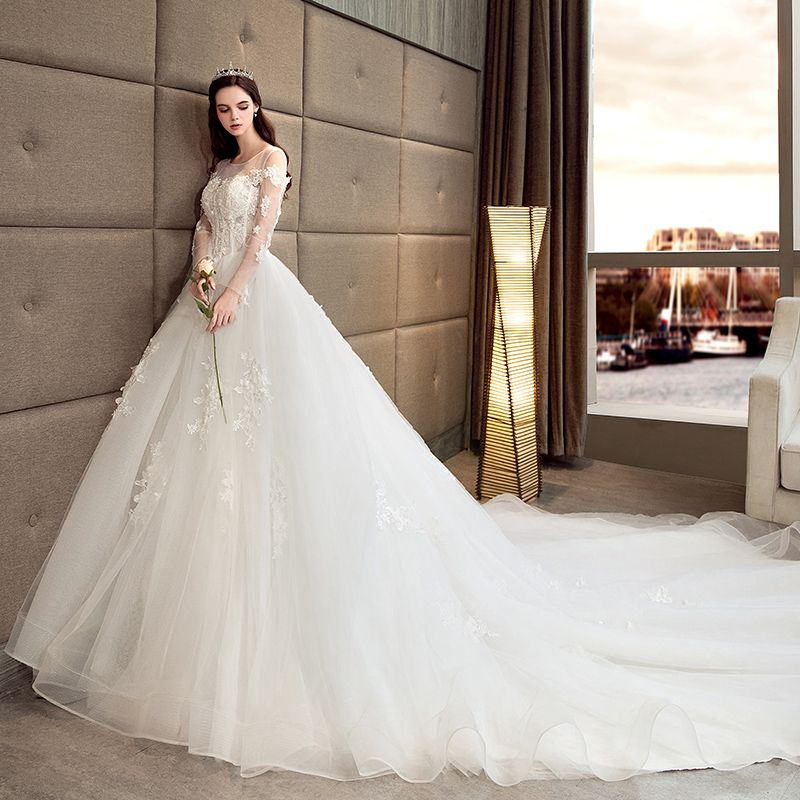 Chic / Beautiful Ivory Wedding Dresses 2018 A-Line / Princess See-through Scoop Neck Long Sleeve Backless Appliques Lace Beading Pearl Cathedral Train Ruffle