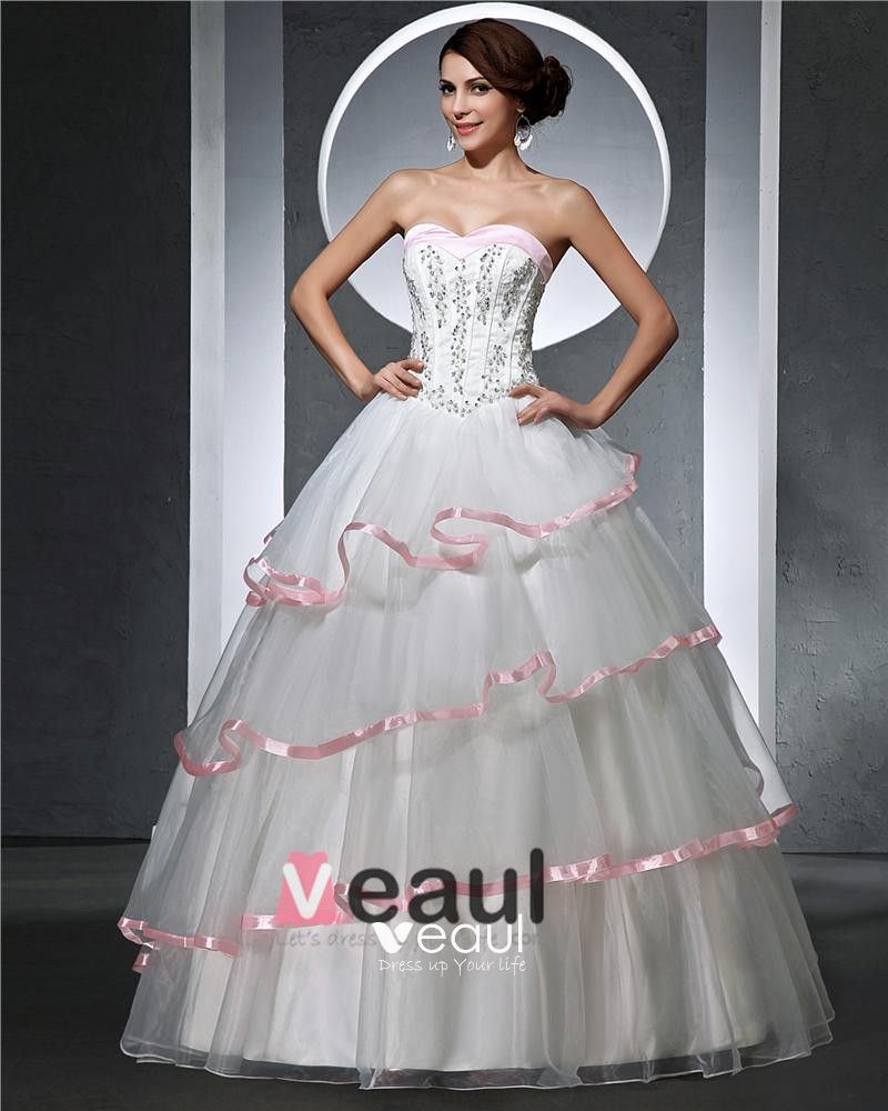 Sweetheart Beading Pleated Floor Length Satin Tulle Woman Ball Grown Wedding Dress