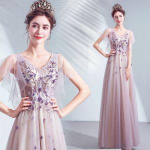 Chic / Belle Violet Robe De Bal 2020 Princesse V-Cou Appliques En Dentelle Fleur Perlage Cristal Manches Courtes Dos Nu Longue Robe De Ceremonie