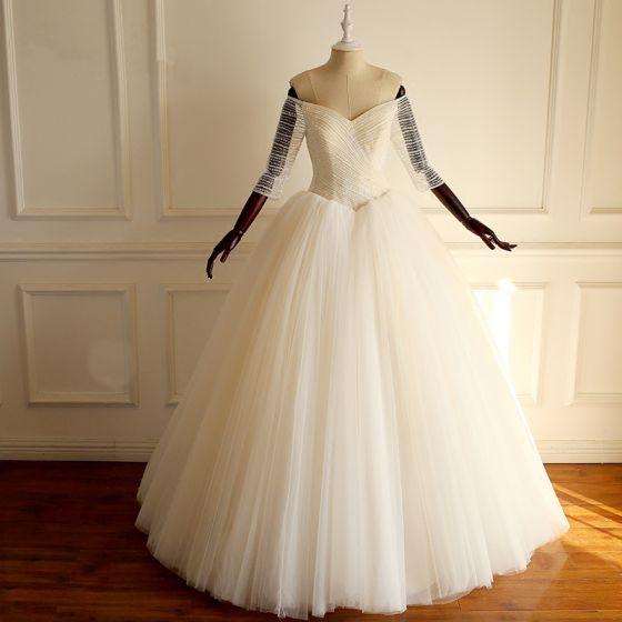 elegantes champán ruffle hinchado vestidos de novia 2018 ball gown