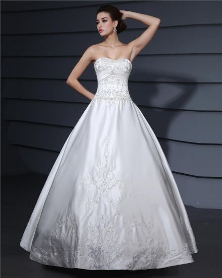 Satin Sicke Stickerei Schatz Kapelle A-linie Brautkleider Hochzeitskleid