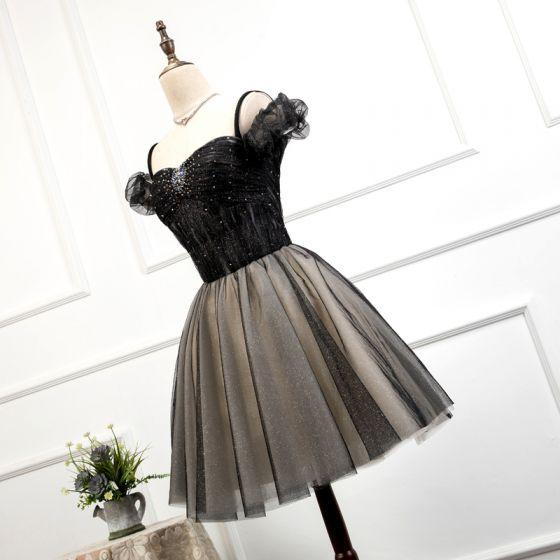 Fashion Black Homecoming Graduation Dresses 2020 A-Line / Princess Off-The-Shoulder Short Sleeve Beading Glitter Tulle Short Ruffle Backless Formal Dresses
