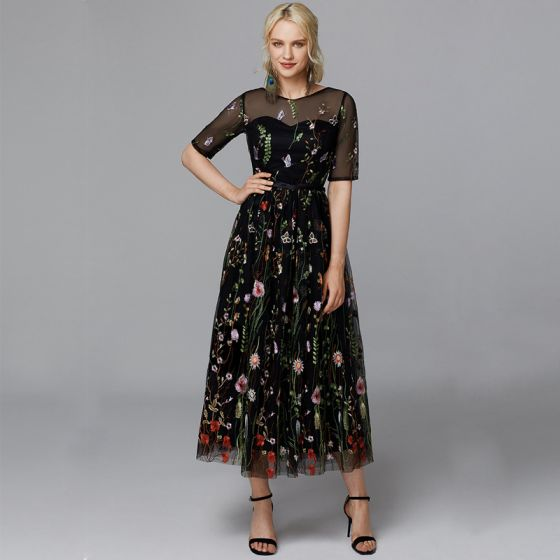 Flower Fairy Black Evening Dresses  2020 A-Line / Princess 1/2 Sleeves U-Neck Tea-length Beading Flower Butterfly Appliques Cocktail Party Evening Party Formal Dresses