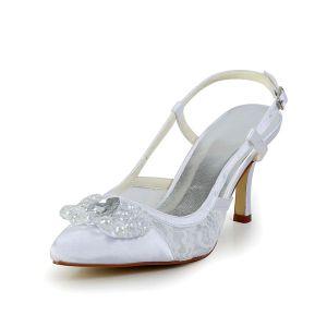 Elegante Witte Bruidsschoenen Kant Stiletto Sandalen Slingbacks Met Pailletten Strass