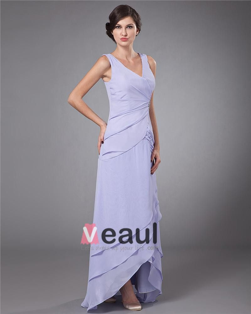 V Neck Layered Chiffon Ankle Length Mothers of Bride Guests Dresses