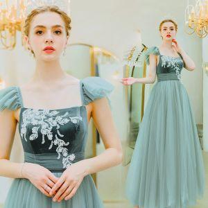 Eleganckie Jade Zielony Sukienki Wieczorowe 2019 Princessa Kwadratowy Dekolt Zamszowe Z Koronki Kwiat Bez Rękawów Bez Pleców Długie Sukienki Wizytowe