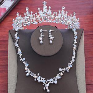 Chic / Belle Argenté Mariage Accessorize 2018 Métal Cristal Faux Diamant Perle Tiare Un Collier Boucles D'Oreilles Bijoux Mariage