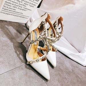 Charming White Wedding Shoes 2020 Leather Rhinestone X-Strap 10 cm Stiletto Heels Pointed Toe Wedding Sandals