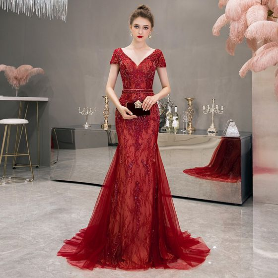 High-end Red Evening Dresses  2020 Trumpet / Mermaid Deep V-Neck Short Sleeve Handmade  Beading Sweep Train Backless Formal Dresses