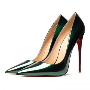 Chic / Beautiful Dark Green Evening Party Pumps 2019 Patent Leather 12 cm Stiletto Heels Pointed Toe Pumps