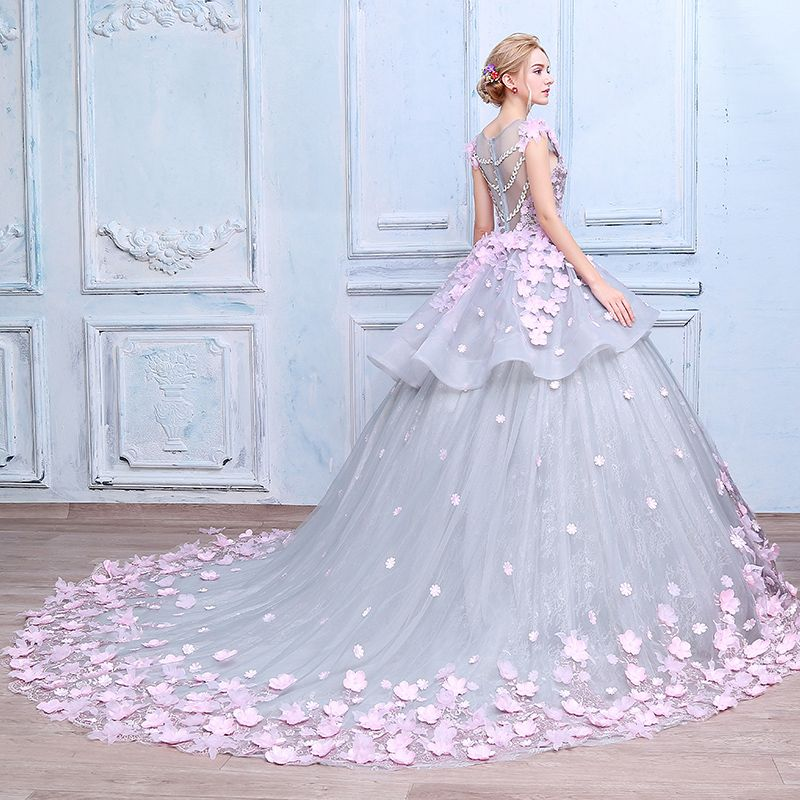 Stunning Amazing / Unique Wedding Dresses 2017 Scoop Neck Sleeveless Appliques Bow Lace Blushing Pink Flower Grey Organza Ball Gown Prom Dresses Chapel Train