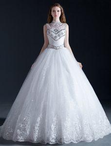Paillettes De Cristal Haute Cou De Perles De Luxe À Volants En Organza Robe De Bal Robe De Mariée