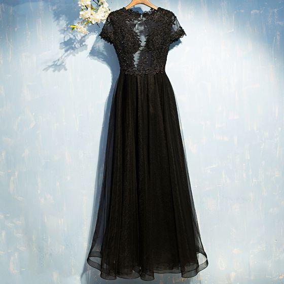 Eleganckie Czarne Sukienki Wizytowe 2017 Z Koronki Kwiat Cekiny Bez Pleców Długość Kostki Kótkie Rękawy Princessa Sukienki Wieczorowe