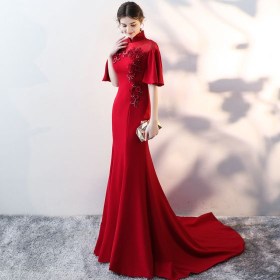 Chinese style Burgundy Evening Dresses  2017 Trumpet / Mermaid High Neck 1/2 Sleeves Appliques Flower Sequins Beading Court Train Formal Dresses