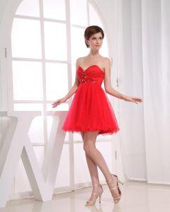Chiffon Silk Gauze Beadings Sweetheart Sleeveless Zipper Short Pleated Cocktail Dress