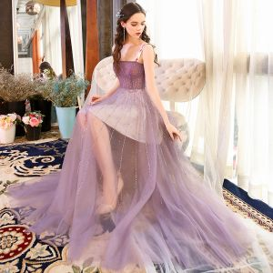 Sexy Lavender Summer Evening Dresses  2018 A-Line / Princess Shoulders Sleeveless Beading Rhinestone Floor-Length / Long Ruffle Backless Formal Dresses