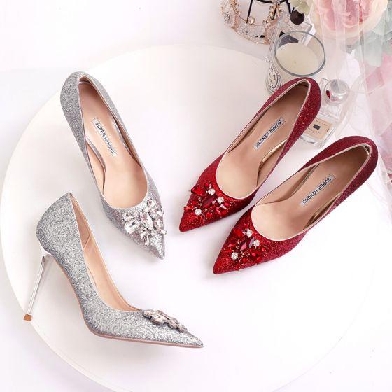 Scintillantes Argenté Chaussure De Mariée 2020 Faux Diamant Paillettes 10 cm Talons Aiguilles À Bout Pointu Mariage Escarpins