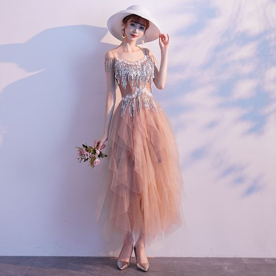 Modern / Fashion Champagne Evening Dresses  2019 A-Line / Princess Spaghetti Straps Lace Flower Sequins Tassel Sleeveless Ankle Length Formal Dresses