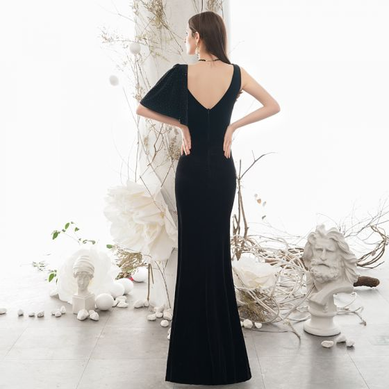 Sexy Black Evening Dresses  2020 Trumpet / Mermaid Deep V-Neck 1/2 Sleeves Split Front Floor-Length / Long Backless Formal Dresses