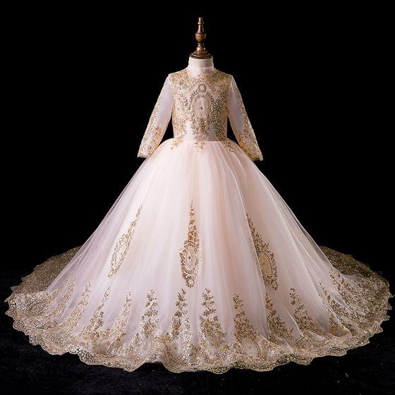 Vintage Gold Blumenmädchenkleider 2019 Ballkleid Stehkragen Lange Ärmel Glanz Perlenstickerei Hof-Schleppe Rüschen Kleider Für Hochzeit