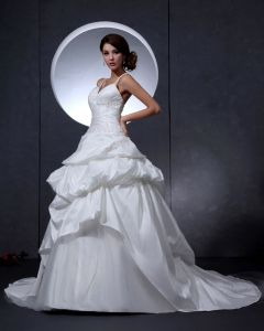 Taffeta Beading Brodert Domstol Brude Ball Kjole Brudekjoler Bryllupskjoler