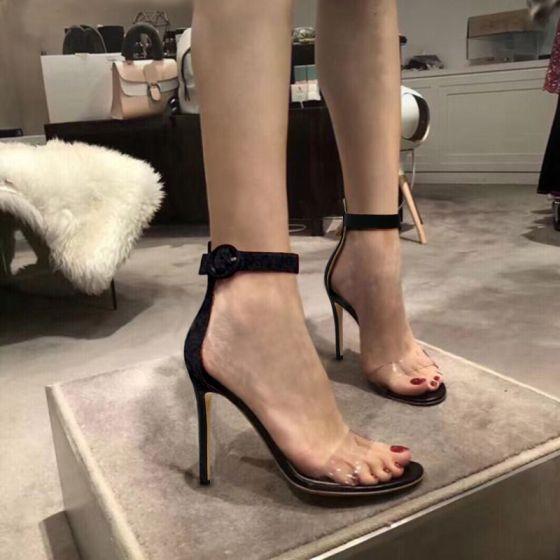 Tobillo De Tacones Moda Casual Peep High 2019 Negro Aguja Toe Mujer 10 Heels Sandalias Del Cm Stilettos Correa w0kOPn
