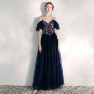 Chic / Beautiful Navy Blue Evening Dresses  2020 A-Line / Princess Spaghetti Straps Short Sleeve Sequins Glitter Tulle Floor-Length / Long Ruffle Backless Formal Dresses